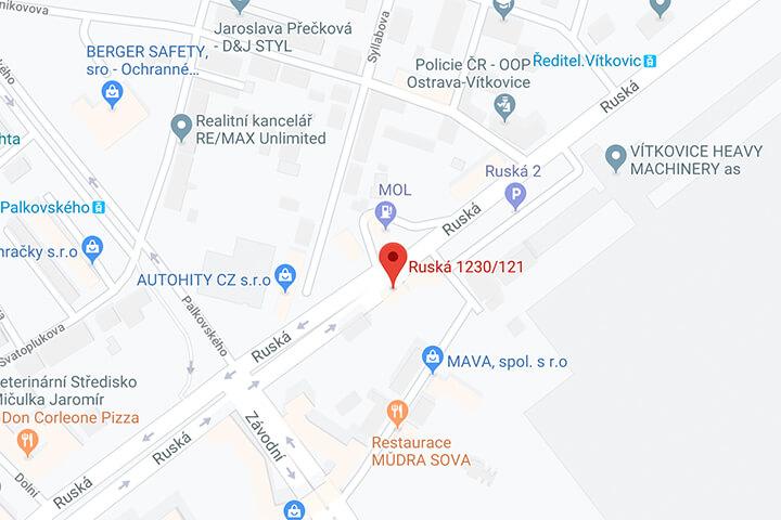 mapa penzion padre ostrava vitkovice